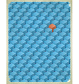 Aged card with cubes pattern