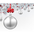 background with silver 3d christmas ball vector image vector image