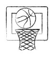 basketball balloon and basket vector image vector image