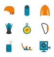 climbing icon set flat style vector image vector image