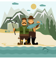 Concept flat design with fisher and hunter and vector image vector image