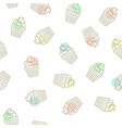 cupcake seamless pattern hand drawn golden vector image