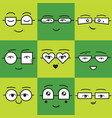 cute green square stickers emoticons smile faces vector image vector image