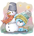 cute puppy and snowman vector image vector image