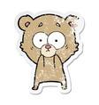 distressed sticker of a anxious bear cartoon