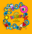 doodles hand drawn on a summer theme vector image