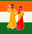family couple of hindu national clothes standing vector image
