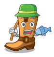 fishing old cowboy boots in shape character vector image vector image