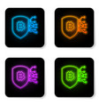 glowing neon shield with bitcoin icon isolated on vector image vector image