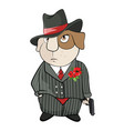 Guinea pig gangster cartoon vector image