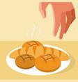hand grabbing a bread vector image