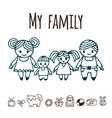 happy family with two children in cartoon style vector image vector image