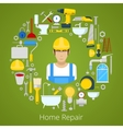 Home House Repair with Repairs Tools vector image