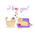i love you greeting card with cute cartoon cats vector image vector image