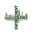 law enforcement badges text background word cloud vector image