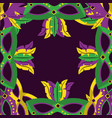 masks with feathers mardi gras decoration border vector image