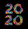 new year 2020 stylish color numbers vector image