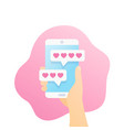 online dating app and chat smartphone in hand vector image vector image