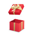 open red gift box and gold ribbon isolated on vector image