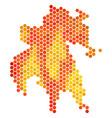 orange hexagon peloponnese half-island map vector image vector image