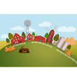 panorama or scenic view on farm tractor vector image