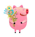 pig with bouquet flowers vector image vector image