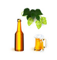 realistic beer symbols objects set vector image vector image