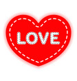 red heart sewn with thread and the word love vector image