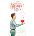 romantic watercolor greeting card with a young man vector image