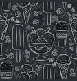 seamless patterns with ice cream on grunge vector image vector image