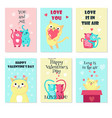set of cards with cute cats in love vector image