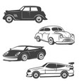 set retro cars icons isolated on white vector image