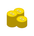 stacks of gold coins symbol flat isometric icon vector image vector image
