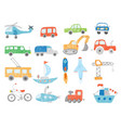 transport doodles kids drawing technics tractor vector image vector image