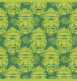 tribal totem mask seamless green textured pattern vector image vector image
