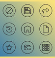 user icons line style set with application floppy vector image