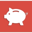 white piggy bank icon on dark red background vector image vector image