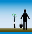 work in the garden caring for sick trees simple vector image
