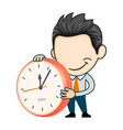 young businessman holding clock flat business vector image