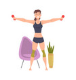 young woman in sportswear exercising vector image vector image