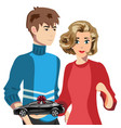 couple with car concept vector image