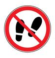 No shoes sign warning vector image