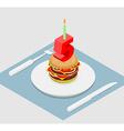 5 years birthday burger Hamburger and candle vector image vector image