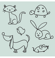 animal drawings vector image vector image