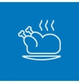 Baked whole chicken line icon vector image vector image