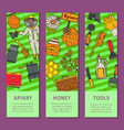 beekeeping set banners apiary and beekeeper in vector image vector image