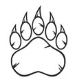 black and white bear paw with claws vector image vector image