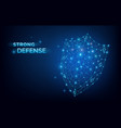 blue lowpoly security system shield strong vector image