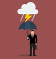 Businessman with umbrella in storm vector image vector image