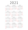 calendar for 2021 year vector image vector image